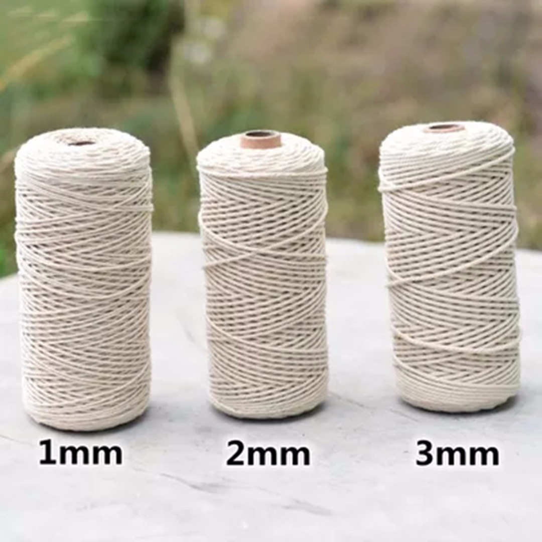 1pc 1/2/3mm Diameter Twisted Cord 100% Natural Cotton 200/400M Length For Handmade DIY Craft Macrame Artisan String