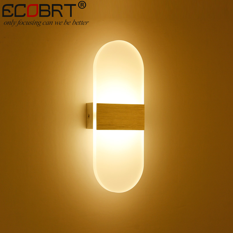 ECOBRT Modern 6W Aluminum Led indoor wall lamps Surface Mounting Decoration Sconces Wall Lighting Fixtures Silver / Black / Gold