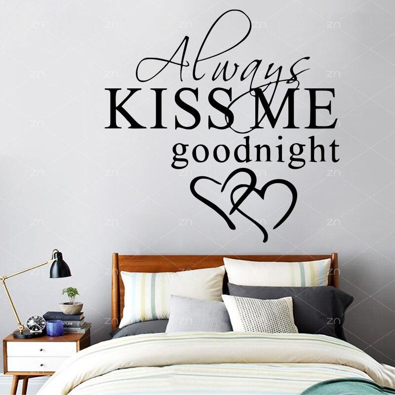 1187 J53 Toujours Membrasser Bonne Nuit Amour Citation Stickers Muraux Couple Chambre Amovible Stickers Muraux Bricolage Romantique Mural Décor à