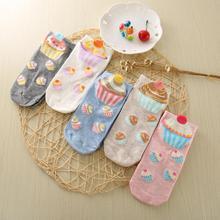 1pair Cute Cartoon Women Socks Casual Fashion Cake Style Cotton Women Sock Slippers Ankle Socks for Spring Summer-WOM011