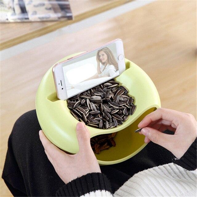 クリエイティブプラスチックスナック食品種子収納ボックス円形ダブルデッキメイクアップオーガナイザーキッチン雑貨ホルダー