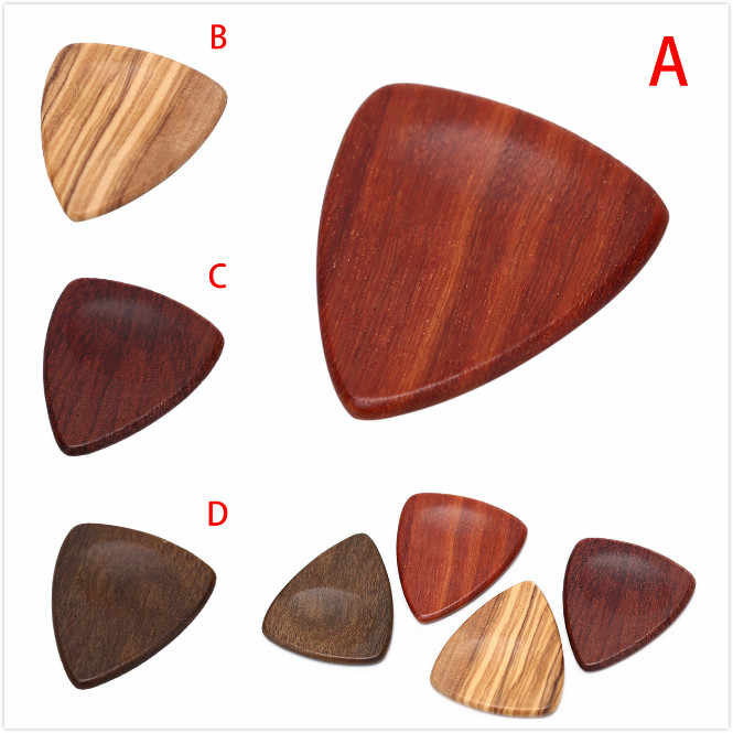1PCS 3cm x 2.5cm Wood Acoustic Guitar Pick Plectrum Hearted Shape Picks for Bass Part