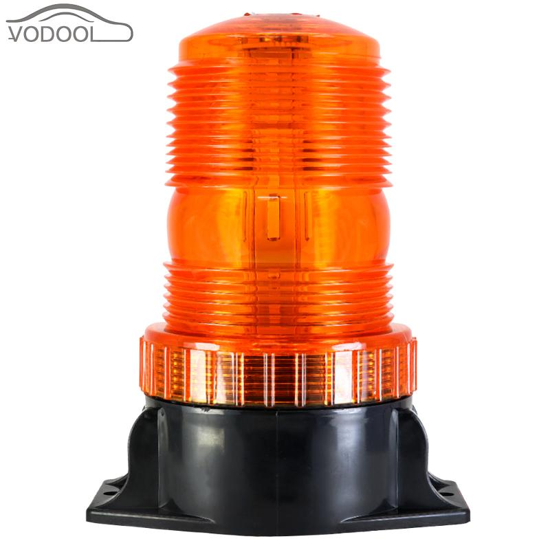 12-110V 15W Car Bus Roof Emergency Warning Light Automobiles Amber Yellow LED Hazard Flashing Alarm Beacon Lamp for Truck