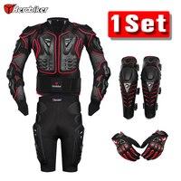 HEROBIKER Rote Motocross Racing Motorrad Körper Rüstung Schutz Motorrad Jacke + Shorts Hosen + Schutzausrüstung Knieschützer + Handschuhe