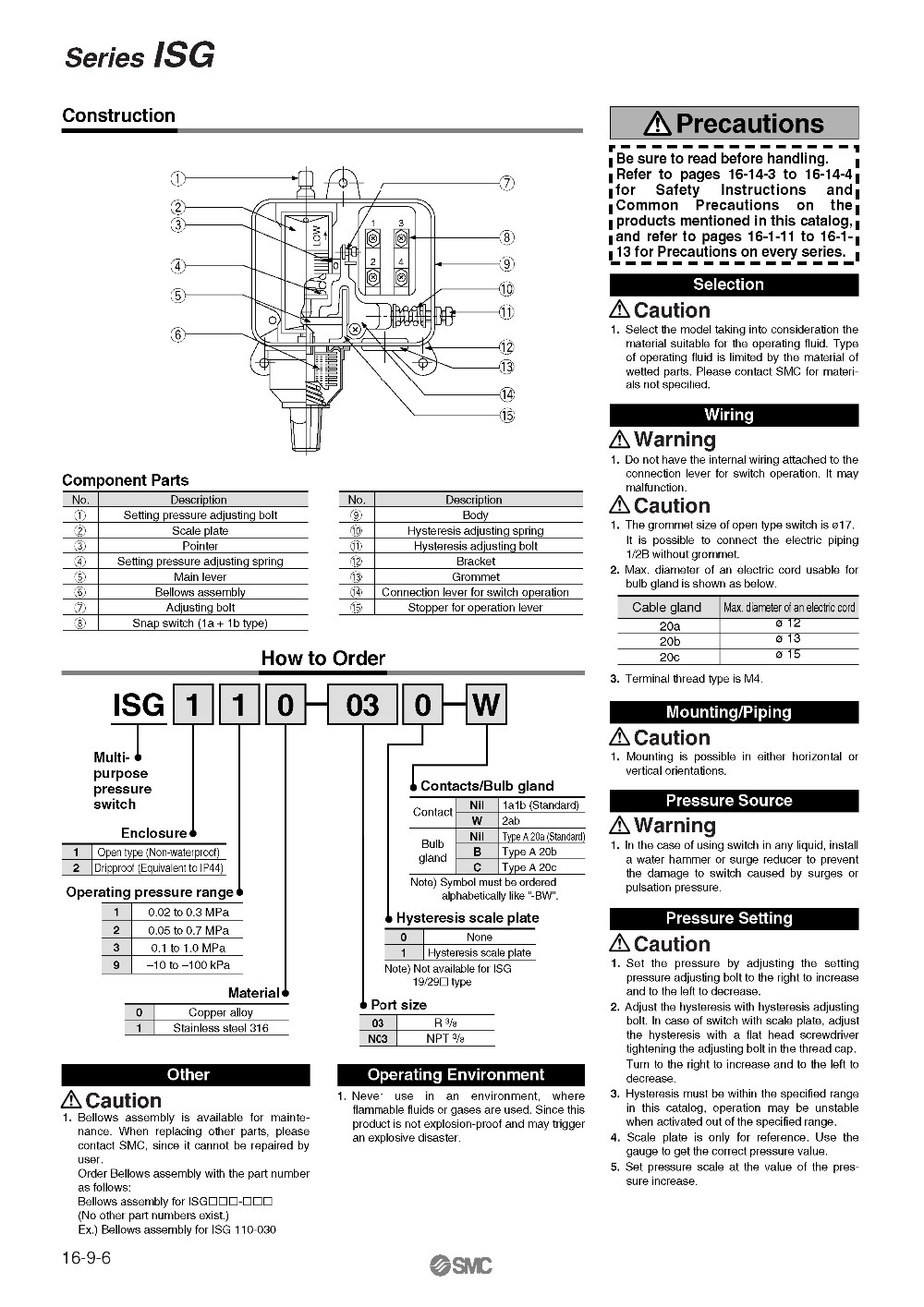 BRAND NEW JAPAN GENUINE PRESSURE SWITCH ISG110 030-in Pneumatic ...