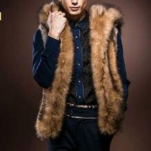 Мужской меховой жилет зимняя мужская теплая безрукавка из искусственного