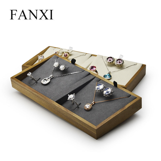 FANXI Jewelry Display Solid Wood Jewelry Tray Necklace Bracelet Ring Display Tray Stand Jewelry Organizer Tray for Showcase