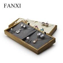 FANXI дисплей ювелирных изделий из цельного дерева лоток для ювелирных изделий ожерелье браслет кольцо Дисплей Подставка для ювелирных изделий Органайзер лоток для витрины