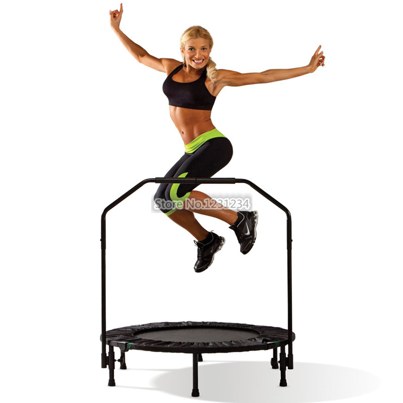 Indoor professional fitness adults children Trampoline with handrail stainless steel and PP net folding maximum load