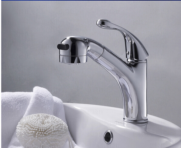 high quality chrome plating bathroom single lever hot and cold deck mounted basin faucet with pull out shower head