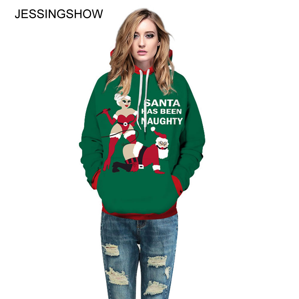 JESSINGSHOW 2017 Women Men Christmas Clothes Naughty Santa Claus Printed Hoodies Sweatshirt Casual Pullover Long Sleeve Hooded