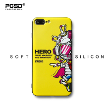 PGSD Original Personality FashCute Cartoon Astronaut Relief Soft TPU Painted Phone Back Cover for iPhone 6s 7 8Plus yellow Cases