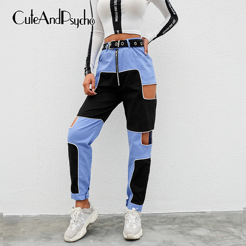 Hip Hop Cargo High Waist Pants Women Hollow Out Trousers Ladies Joggers Patchwork Pants Capris Streetwear Summer cuteandpsycho