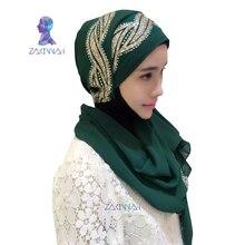 Dark buckle Pearl chiffon fabric scarf of women hot drilling high quantity Muslim headscarf Long towel