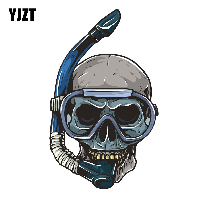 YJZT  10CM*16.6CM Diving Skull Head Decal PVC Motorcycle Car Sticker 11-00691