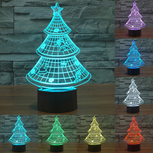 7 colors Christmas Tree 3D Light Colorful Gradient Acrylic USB lamp LED Table touch Lovely Nightlight for Gift for Kids IY803439