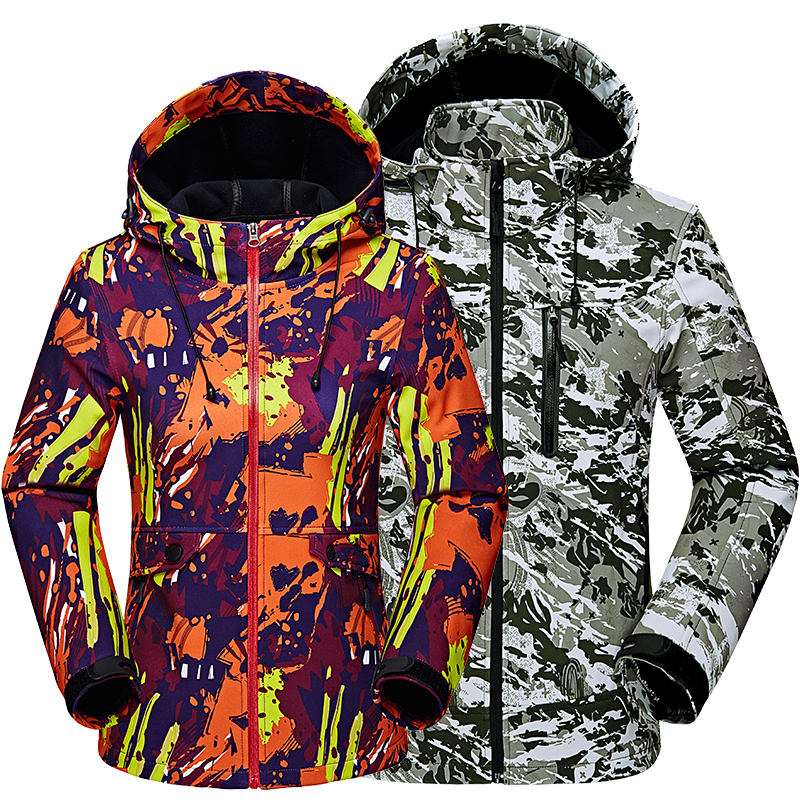 b9aa2ba2be1 Men women Climbing windproof waterproof softshell jackets couple Camouflage  Hooded Camo Army Clothing max size 3XL 4XL 5XL -in Hiking Jackets from  Sports ...