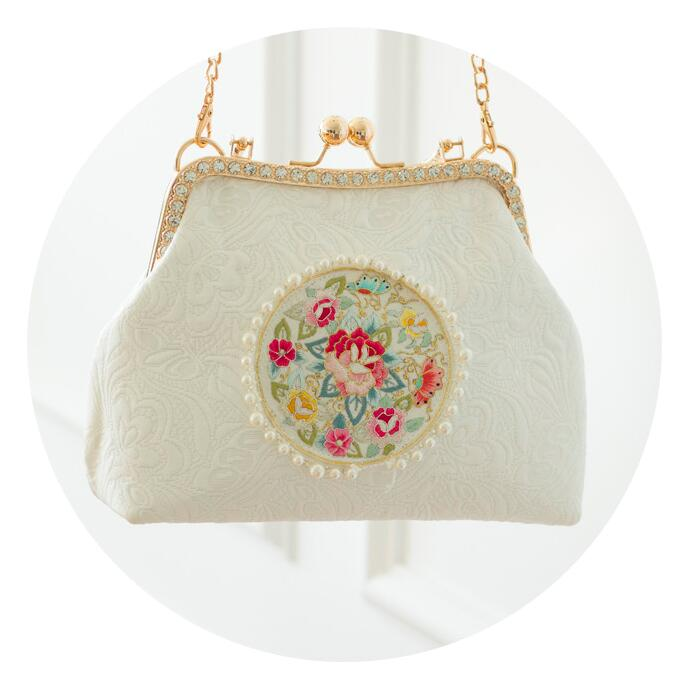 Angelatracy 2019 blanc de haute qualité diamant broderie Floral perle perles perles sac de soirée en métal cadre pochette pour femmes sac sacs à main