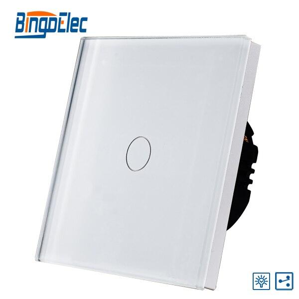 EU/UK 1gang 2way dimmer sensor white glass light touch switch suck uk