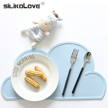 SILIKOLOVE Cute Silicone Placemat FDA Mat Baby Kids Cloud Shaped Plate Mat Table Mat BPA Free Waterproof Set Home Kitchen Pads(China)