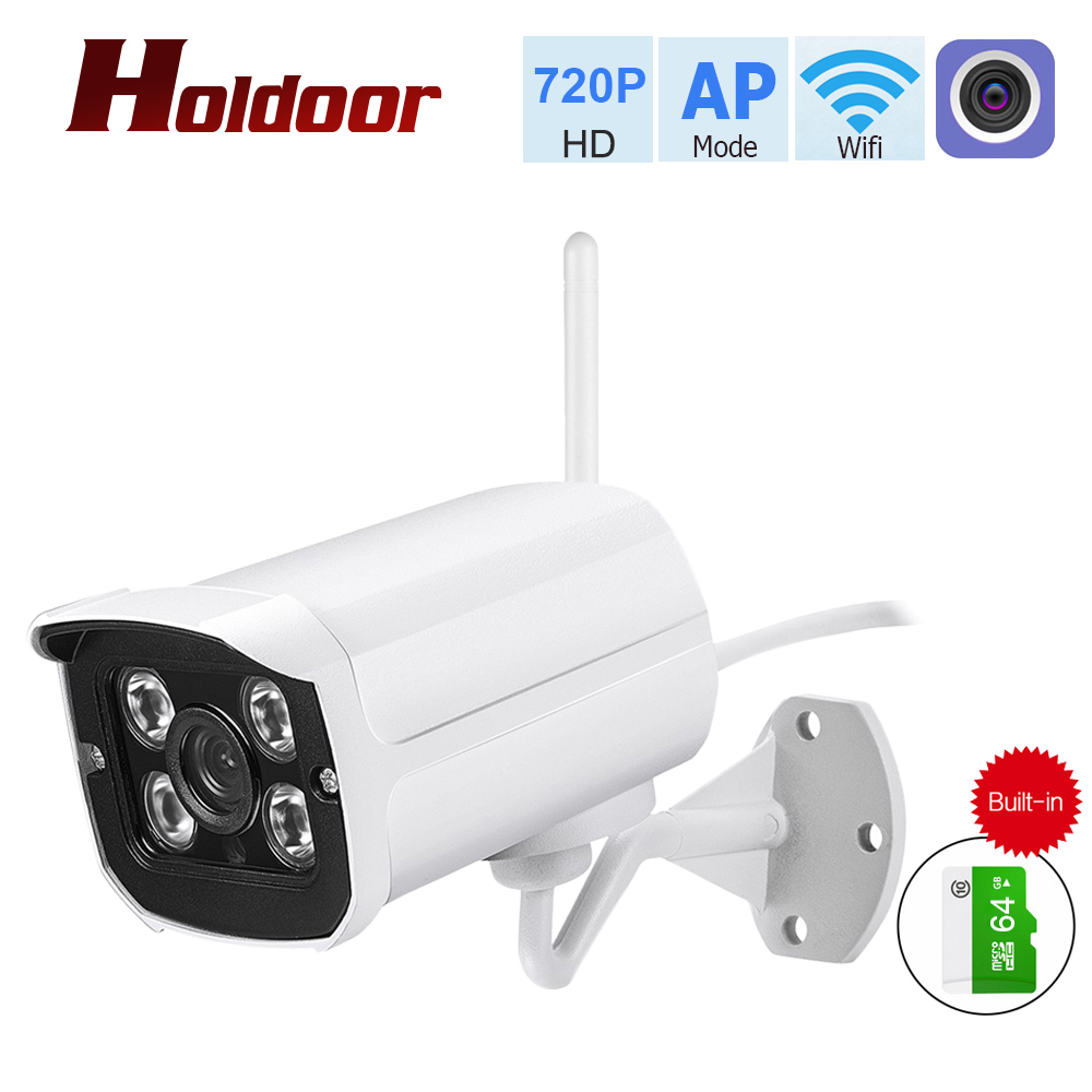 Holdoor 1MP WiFi IP Camera Built-in 64GB Wi-Fi AP Network Outdoor Wireless Email FTP SD Card P2P Night Vision Motion Detection vision ap pd01 silver