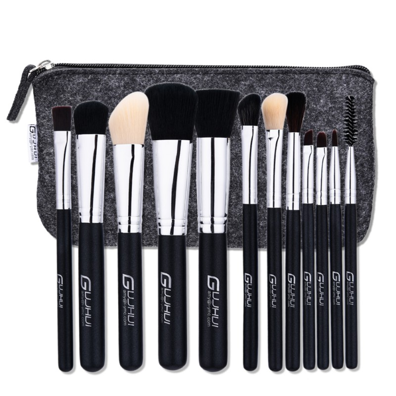 12Pcs Makeup Brush Set Foundation Cosmetic Powder Multifunction Toiletry Brushes Make Up Brushes Kits with Bag 614 614 party magic coin into glass dish magician trick tool silver black