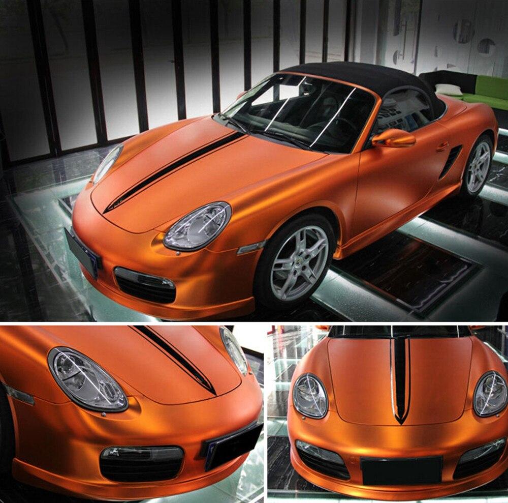 Orange Auto style de voiture corps électro revêtement changement de couleur Film chromé nouveau Satin Chrome vinyle Wrap autocollant autocollant 25 m rouleau