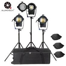 ALUMOTECH Fresnel Spot Light 100 W LED X 3 Unidades + Stands Kit Para A Câmera de Vídeo Estúdio de Fotografia