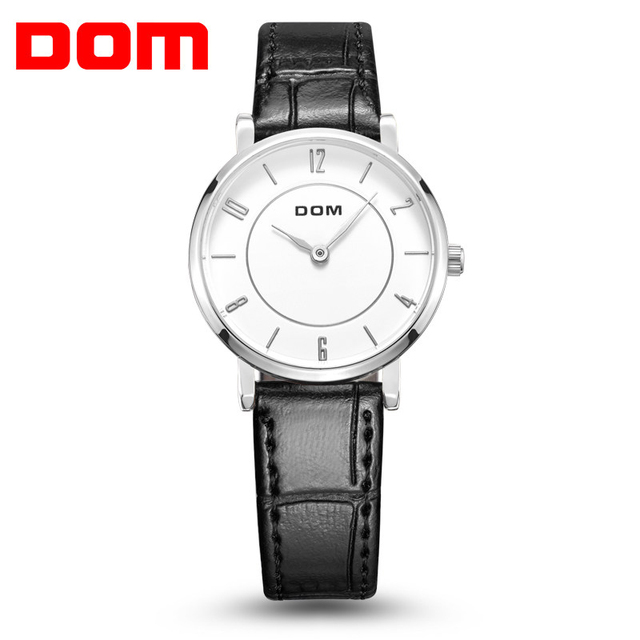 DOM Woman's Watch Fashion Luxury Ladies Quartz Wristwatch Top Brand Leather Stra