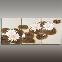 Ручной работы 3 шт. Холст Художественную Роспись цветка водяной лилии картина маслом для украшения комнаты Бесплатная доставка ae025