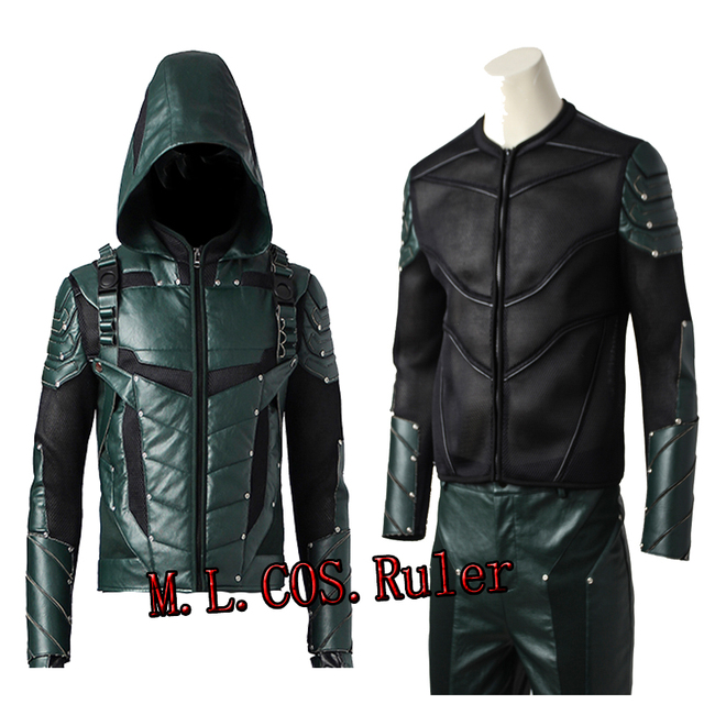 Hooded Green Arrow Cosplay Top sv9Eans