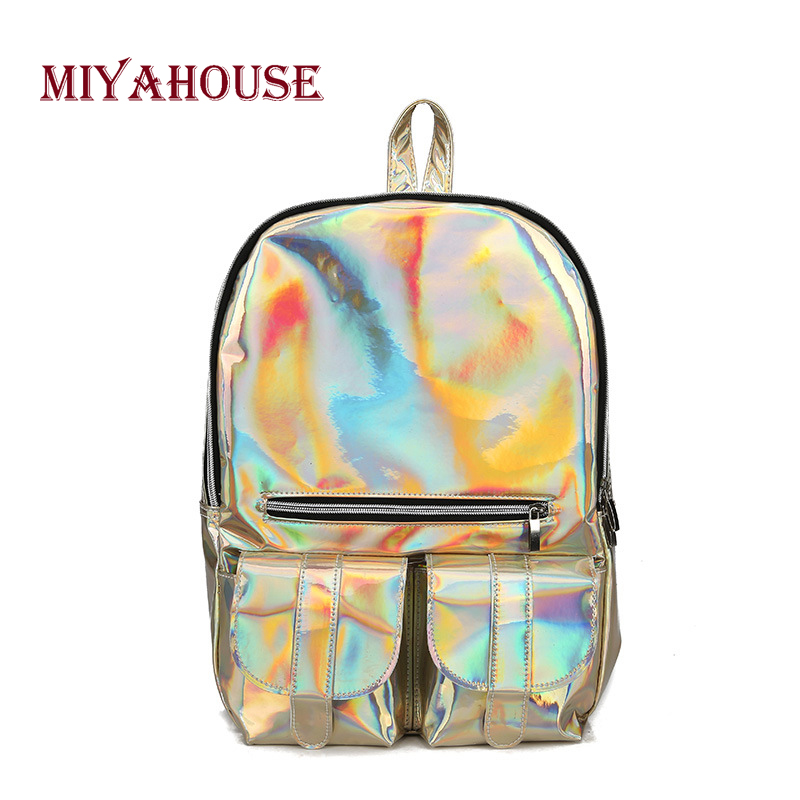 Miyahouse Fashion Laser Backpacks Women European Style Travel Bags Female Bright Zipper Backpacks High Capacity School Bag