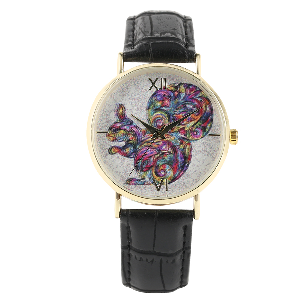 Female Squirrel Dial Wirst Watch Casual PU Leather Band Quartz Women Watches Simple Fesh Style Ladies Colorful Bangle Clock Gift