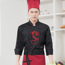 Chinese style long-sleeved Chef service Embroidered dragon Hotel working wear Restaurant work clothes Tooling uniform cook Tops