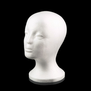 27cm Female Foam Mannequin Head Model Wigs Hair Glasses Hat Display Holder Stand White