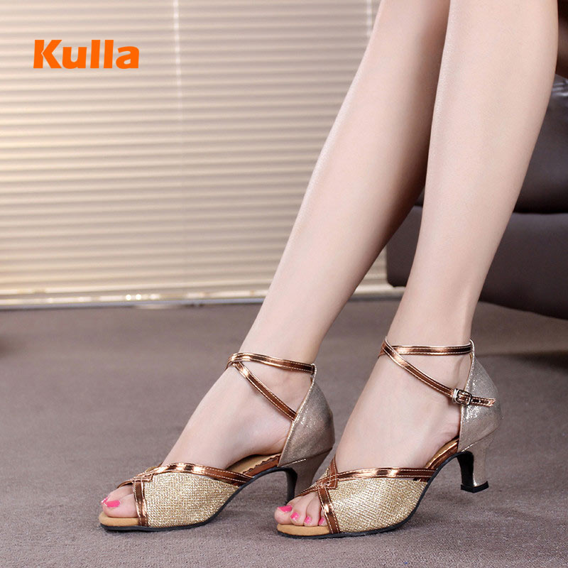 Women Latin Dance Shoes Soft Sole Brown/Silver Tango/Salsa Dance Shoes For Ladies Heels 5.5cm Comfortable Ballroom Dancing Shoes
