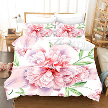 3D rose peony flowers bedding set Duvet Covers Pillowcases fruit Watercolor print comforter sets bedclothes bed linen