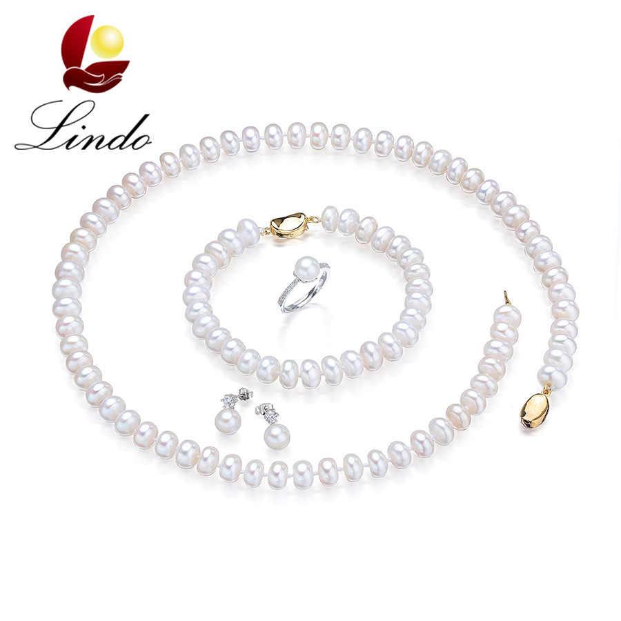 Lindo אופנה לבן טבעי מים מתוקים פרל תכשיטי סטים לנשים אלגנטית זהב צבע כסף 925 חתונת שרשרת 4 PCS סטים