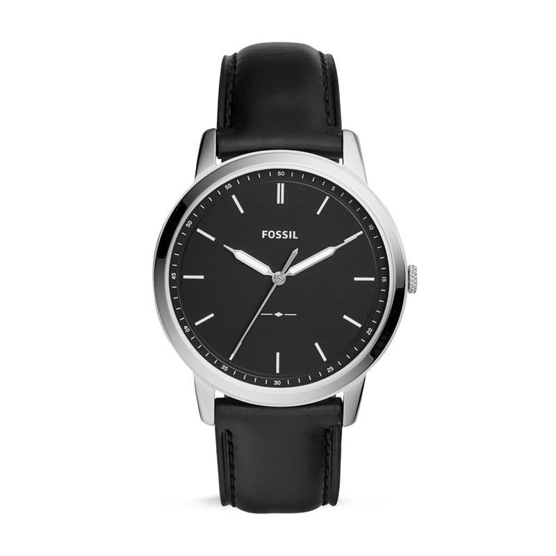 FOSSIL The Minimalist Three-hand Black Leather Watch Classic Quartz Wrist Watch for Men FS5398