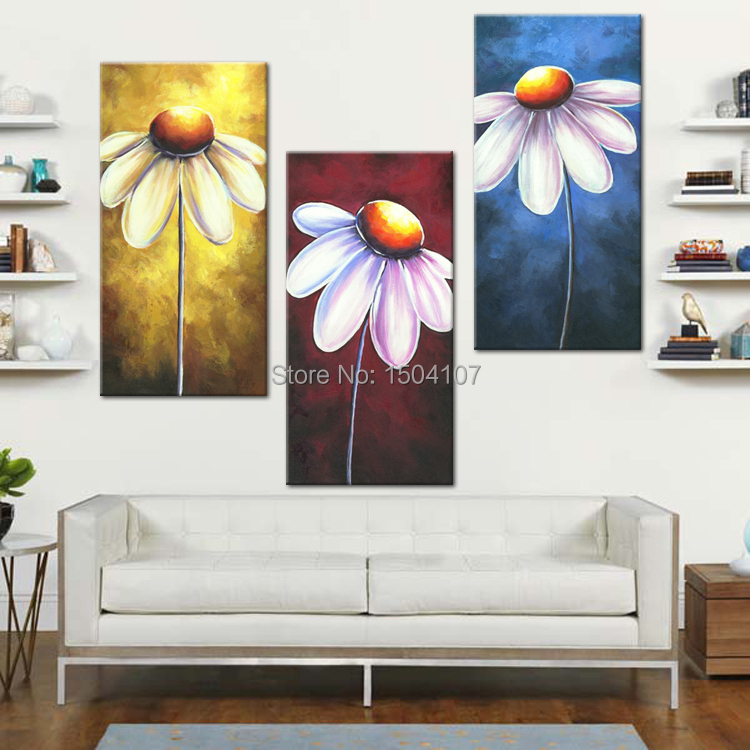 3 pcs set canvas wall art print pictures home decorations daisy flowers paintings blue red. Black Bedroom Furniture Sets. Home Design Ideas