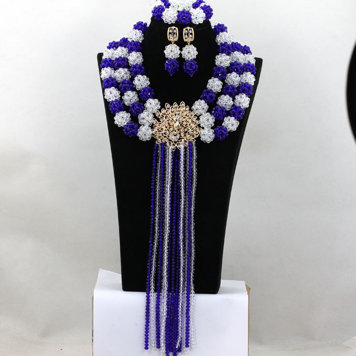 Charms White Mix Royal Blue Crystal Balls and Strands Women Necklace Costume Nigerian Wedding African Beads Jewelry Set HX919 royal blue balls necklace nigerian wedding african beads jewelry set crystal beads women costume jewelry free shipping abf600