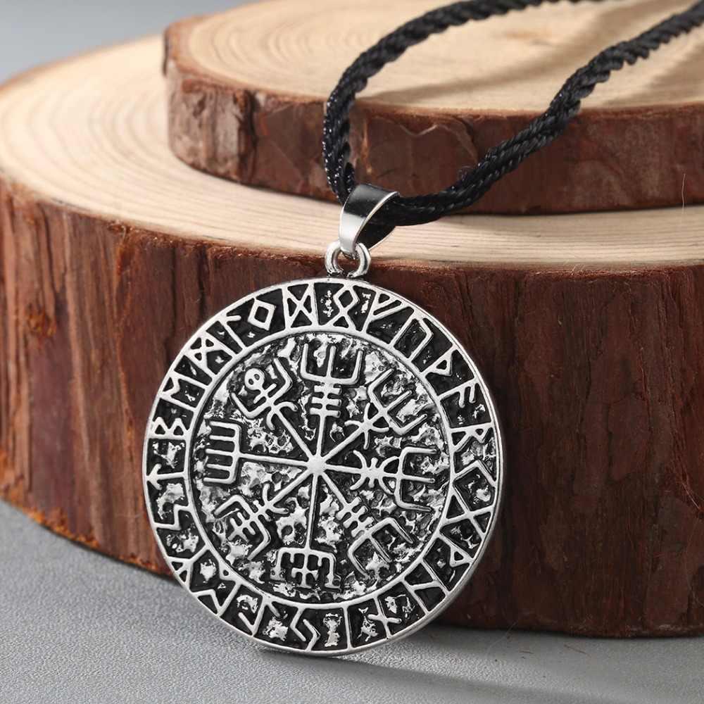 CHENGXUN Guidepost Compass Necklace Talisman Viking Elder Futhark Pendant Valknut Pagan Amulet Vegvisir Scandinavian Norse Gift