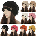 New Fashion Women's Lady Beret Braided Baggy Beanies Crochet Warm Winter Hats Wool Knitted Cap For Women Wholesale A1