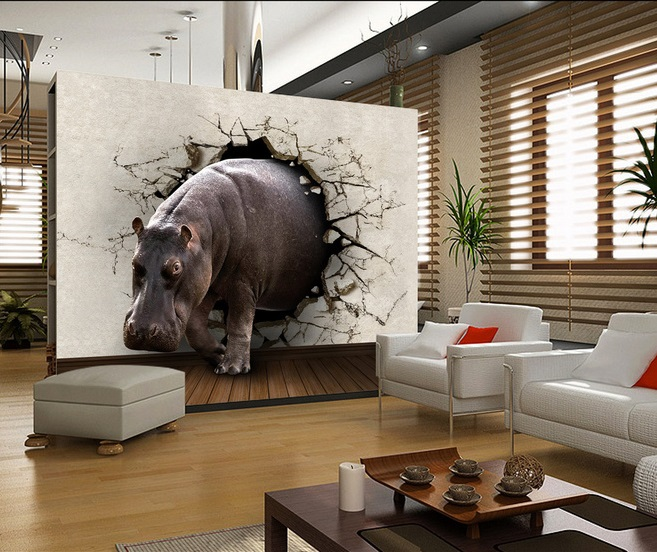 Free Shipping Eco Friendy 3d Mural Hippo Papel De Parede Background Living Room Bedroom TV