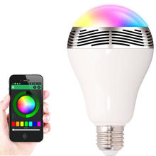 1pcs APP Led Music Bulb RGBW Color Dimmable Smart Lamp Bluetooth 4.0 Audio Speaks E27 Remote Control by smart phone APP(China)