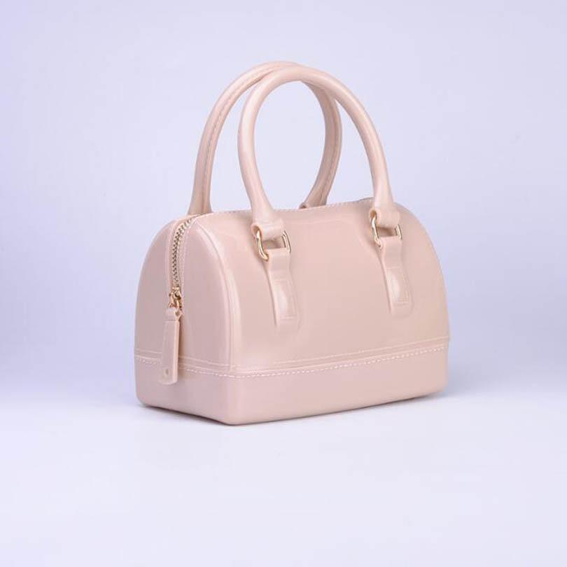 LIXUN 2017 New Women Silicone Sweet Candy Color Solid Tote Bags Ladies Jelly Handbags Designer Shoulder Boston Bag Beach Bolsa