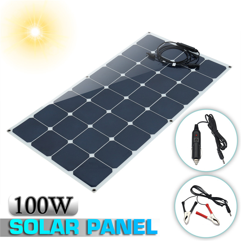 Flexible Solar Panels 100W 12V Monocrystalline Sun power with MC4 Connector For RV/ Boat Camping Cabin solarparts 2x 180w flexible solar panel cell system diy kits 12v for rv boat home front junction box mc4 connector 125 125mm sun