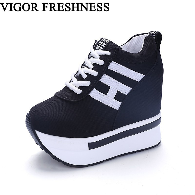 VIGOR FRESHNESS Platform Women Shoes Canvas Vulcanized Shoes Height Increasing Pumps Woman Sneakers Wedges High Heels Shoes WY71 stylish golden hollow rounded rectangle hasp bracelet for women