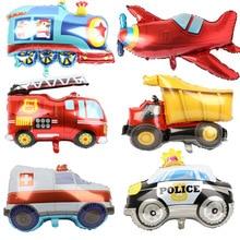 Decorations-Balls Aircraft Foil-Balloon Globos Fire-Truck Construction Birthday-Party