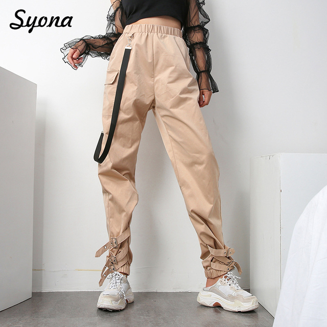 Style militaire Armée Pantalon Cargo Jogging Femme Tendance Pantalon  Tactique Cheville Cravate Ruban Pantalon Femme Lâche 5e3a1b7fb74